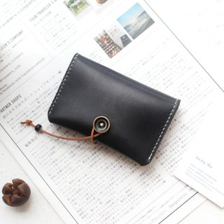 Black vegetable tanned leather handmade leather purse business card package card package card package button credit card package