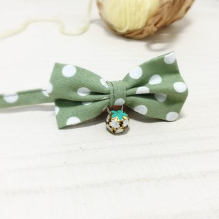 Apple Green Dot Cat Mini Dog Small Dog Bow Decoration Collar