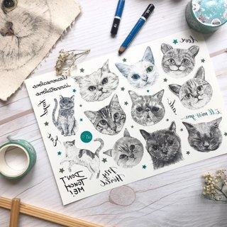 adc|party animals|calligraphy|tattoo sticker(cat)