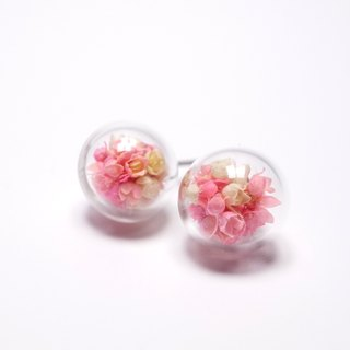 A Handmade pink hue Xia grass glass ball earrings