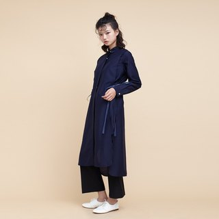 kitann ino Tencel shirt dress long section of double fake two side slit lace dress blue dress