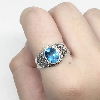 Blue Titan 925 sterling silver heavy industry elegant ring Nepal handmade mosaic production (style 2)