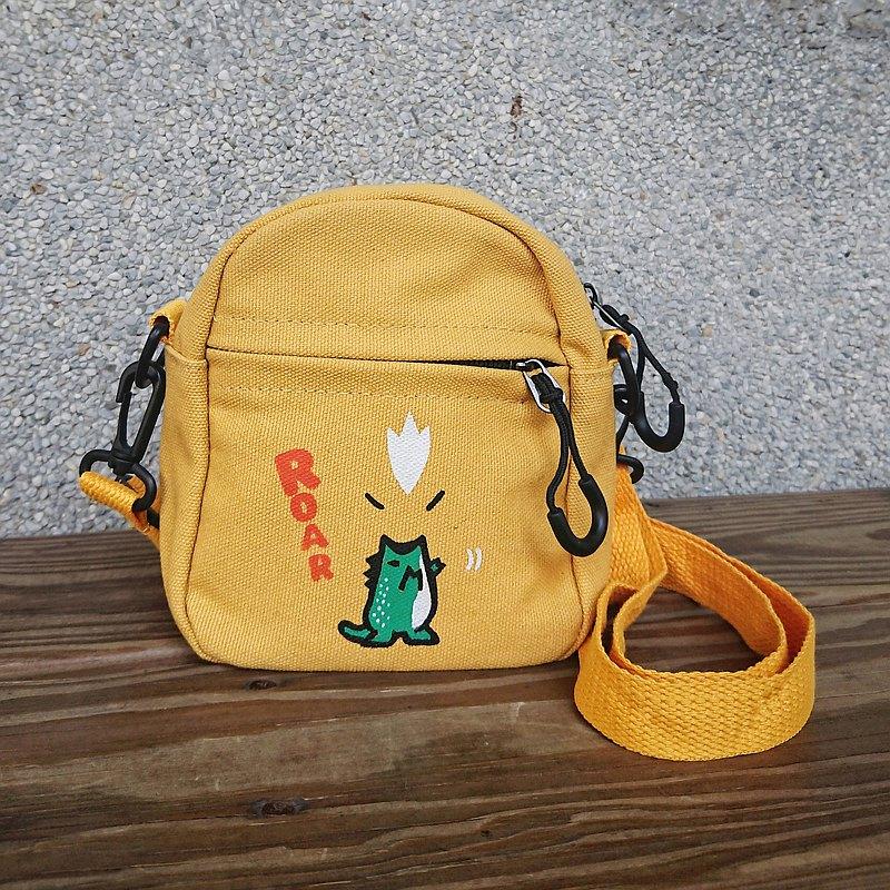 貓毛 原創手繪小帆布斜背包(黃) / 綠色噴火龍