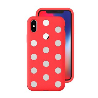 AndMesh-iPhone Xs Dot Double Layer Anti-collision Cover - Bright Red (4571384958738