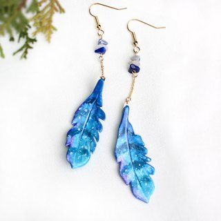 [Feather Leaf Series] Midnight Blue Feather Earrings / Leaf Earrings / Fairy
