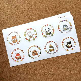 Forest animals round stickers marked