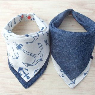 Baby Bandana Bib,口水巾,Baby Scarf Bib,Reversible,Big Anchor,Navy Denim Print,