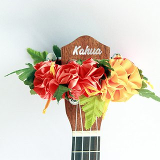 ribbon lei for ukulele (orange hibiscus) / ukulele strap / ukulele ribbon /