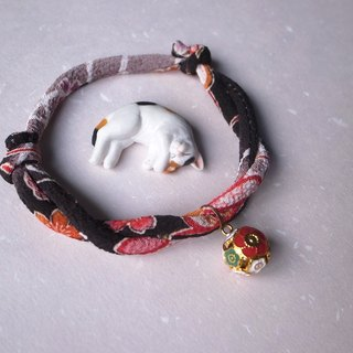 Japanese kimono dog collar & cat collar【Adjustable】dimgray_S size