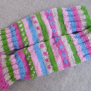 【Grooving the beats】Wool Canadian Colorful Legwarmers(Multi color_Pink)
