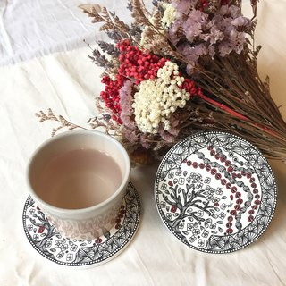 Ceramic Tangles Coaster/Asian Red。Flora and Tree