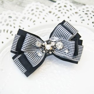 Black small checkered bowknot French clip