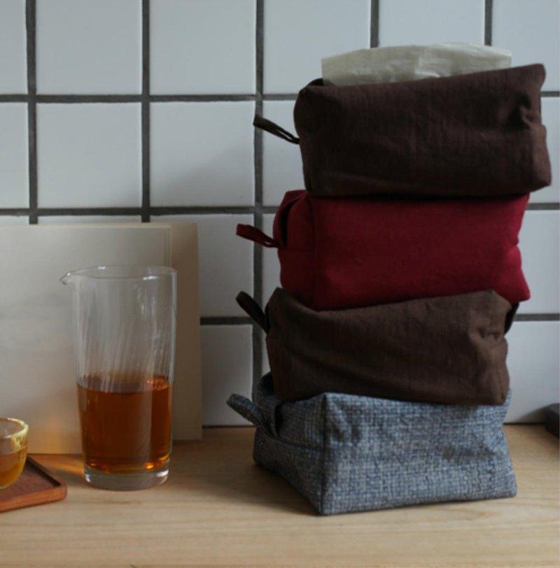 多色 壁掛款 紅色棕色灰色土布面紙盒 棉麻布藝面紙套 車載紙巾盒