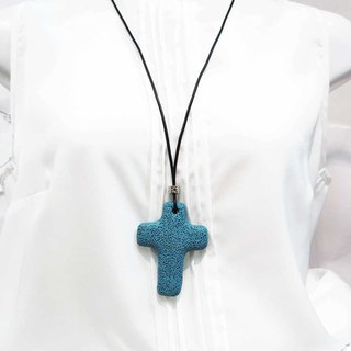 Blue Lava Rock Diffuser Necklace Large Cross Pendant Cowhide Leather Cord
