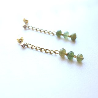 Kyoto-Zircon brass handmade earrings