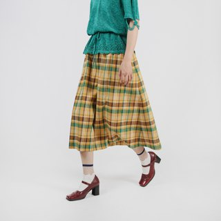 [Egg plant ancient] idyllic style check cotton and linen ancient skirt