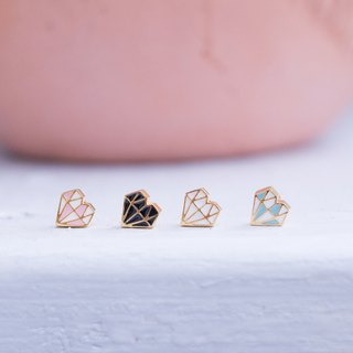 Geometric Heart Diamond Three-dimensional Earrings
