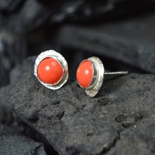post sterling silver earrings with an orange glass cabochon - Handmade in Spain