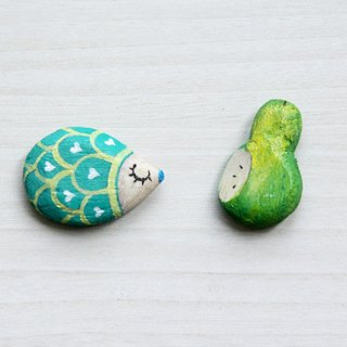 Mint green pear magnet group hedgehog Kenken