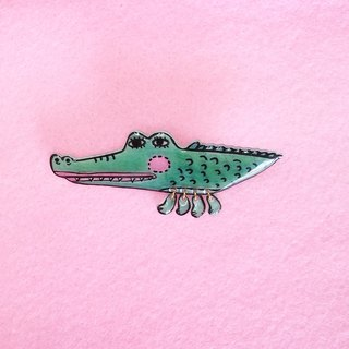 Animal series  - Big eyes Crocodile - Hand Drawn- Pin/ Badge