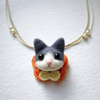 Petwoolfelt - Needle-felted dark grey cat 2-ways accessories (necklace + brooch)