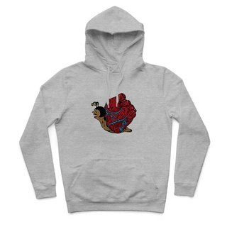 Heart snail - Deep Heather Grey - Hooded T-Shirt