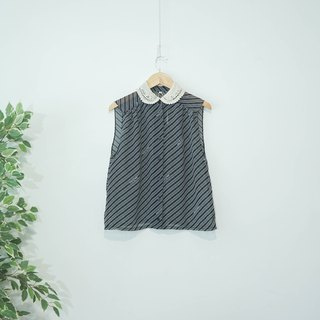 Ancient | Japanese | Remake Vintage l Black oblique striped chiffon hooked collar improved version of ancient sleeveless shirt