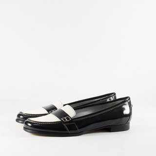 ITA BOTTEGA [Made in Italy] black and white classic two-color Love Low Heel Shoes
