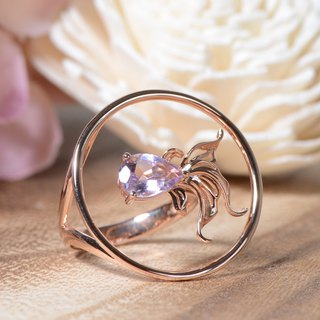 Ryukin - Pink Amethyst 18K Rose Gold Plated Silver Ring