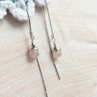 [Beauty tears] pink crystal earrings ear drop type section custom birthday gift