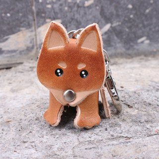 Small brown firewood key ring / stereo Shiba Inu key ring