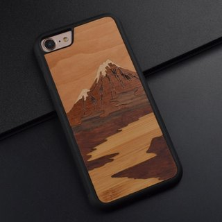 Iphone 8 X Plus phone shell original retro Japanese Fuji Mount stitching Huawei P10 Plus wooden phone shell handicrafts