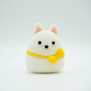 Wool felt smile angel Samoyed dog dog home decoration pendant key ring pin brooch car decoration