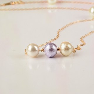[Slim] 14K gold necklace simple pearl chain clavicle birthday gift