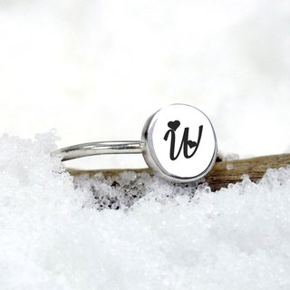 Small Round Series Custom Lettering Initials Letter Circle Silver Ring (Large) -64DEISGN