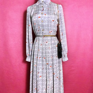 Printed textured long-sleeved vintage dress / brought back to VINTAGE abroad