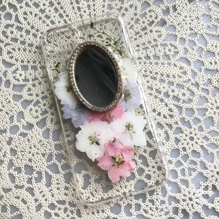iPhone 7 Dry Pressed Flowers Case Mirror crystal case FMR 003