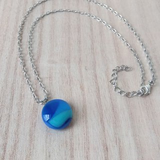 Blue bluish glass necklace / clavicle chain