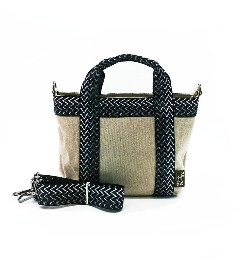 Hand drawn arrow wave pattern strap mini two ways canvas bag