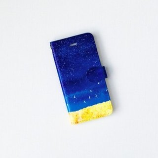 "Orders production] pocketbook type iPhone case ""of deep blue, sky."""