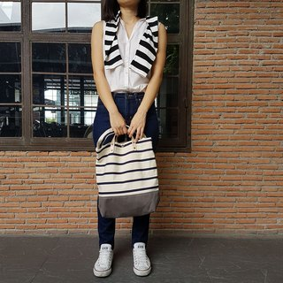 New Stripe Grey Canvas Tote // Daily bag // Shopping bag // Messenger bag.