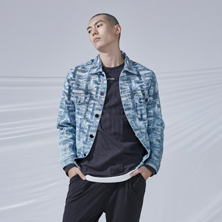 DYCTEAM - Cross Pattern Jacquard Jacket丹寧緹花水洗雪花外套