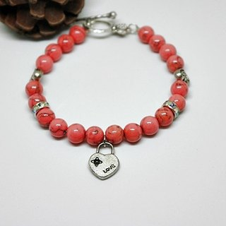 X natural stone alloy bracelet _ orange button orange color can be changed // // ➮ Elastic Bracelet Limited X1