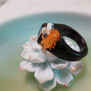 Orange flower log hand made series of wood ring can be used as necklace pendant with tied rope silver head