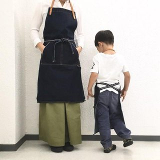 [Parent-child Corde for adults] Bio Wash 14.7 oz Serbitchi Denim and Extra-thick Omune Apron 【Indigo】