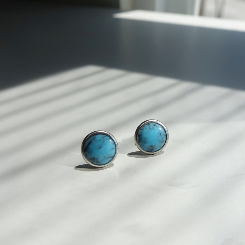 Turkish blue black amber earrings