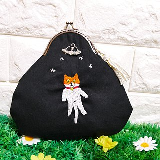 Embroidered cookie Cat goes to UFO Cat Orange