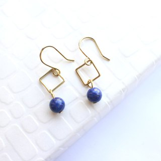 Blue sea -Lapis brass handmade earrings