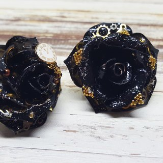 Miss Paranoid Paranoia Steam Punk Black Rose Asymmetric Resin Earrings