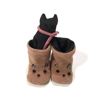 babygift   Baby booties of the cat     orangeBrown X brown